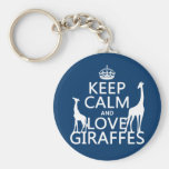 Keep Calm and Love Giraffes - all colours Basic Round Button Keychain
