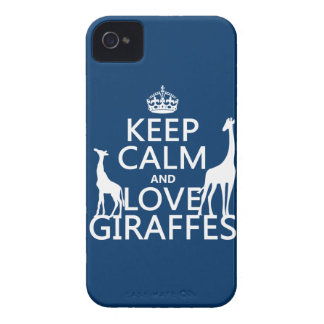 Keep Calm and Love Giraffes - all colours iPhone 4 Case-Mate Case
