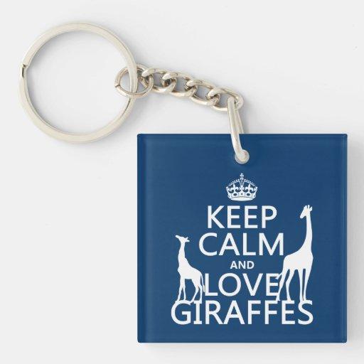 Keep Calm and Love Giraffes - all colours Keychains