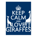 Keep Calm and Love Giraffes - all colours Postcards