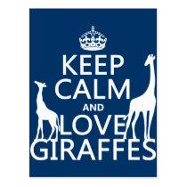Keep Calm and Love Giraffes - all colours Postcard