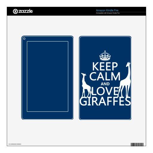 Keep Calm and Love Giraffes - all colours Kindle Fire Skin