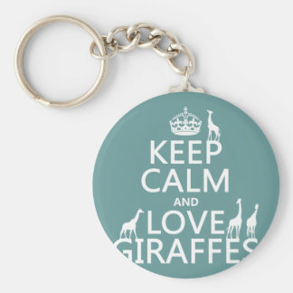 Keep Calm and Love Giraffes (any color) Basic Round Button Keychain