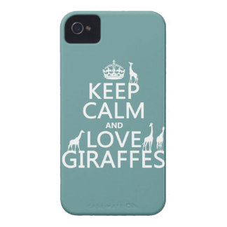 Keep Calm and Love Giraffes (any color) iPhone 4 Cover