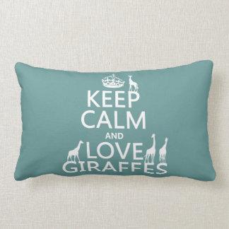 Keep Calm and Love Giraffes (any color) Lumbar Pillow