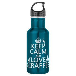Keep Calm and Love Giraffes (any color) Water Bottle