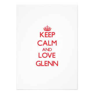 Keep Calm and Love Glenn Personalized Invitation