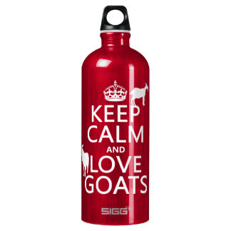 Keep Calm and Love Goats (any background color) Aluminum Water Bottle