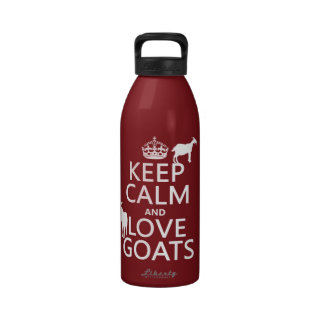 Keep Calm and Love Goats any background color Water Bottles