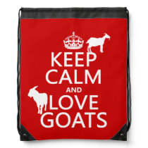 Keep Calm and Love Goats Drawstring Bag