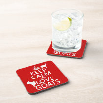 Keep Calm and Love Goats Drink Coaster