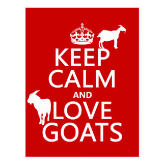 Keep Calm and Love Goats Postcard