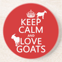 Keep Calm and Love Goats Sandstone Coaster