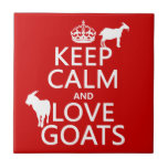 "Keep Calm and Love Goats Tile<br><div class=""desc"">The design reads &#39;Keep Calm and Love Goats&#39;. Two goat silhouettes stand on the letters. It&#39;s a beautiful design, great for anyone who works with goats, keeps goats, or just loves goats. You can change the background colour really easily, just press customize. Or, if you want to see the design...</div>"