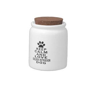 Keep Calm And Love Golden Retriever Dog Candy Jars