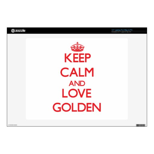 Keep calm and love Golden Skin For Laptop