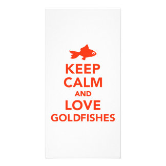Keep calm and love goldfishes photo card