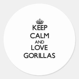 Keep calm and Love Gorillas Classic Round Sticker