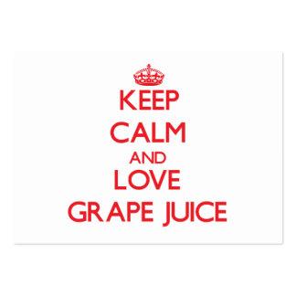 Keep calm and love Grape Juice Business Card Templates