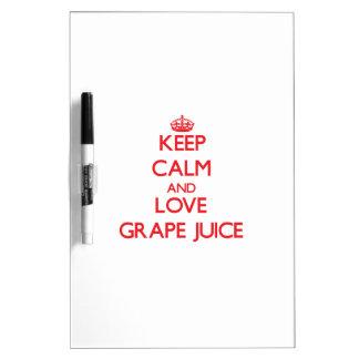 Keep calm and love Grape Juice Dry Erase Board