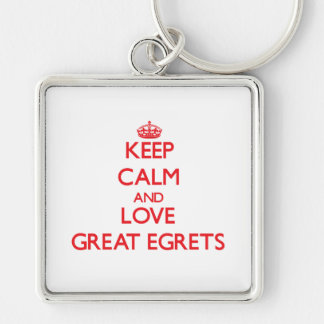 Keep calm and love Great Egrets Keychain