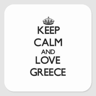 Keep Calm and Love Greece Square Sticker