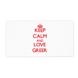 Keep calm and love Greer Personalized Shipping Labels