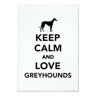 "Keep calm and love Greyhounds 3.5"" X 5"" Invitation Card"
