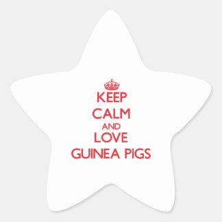 Keep calm and love Guinea Pigs Star Sticker