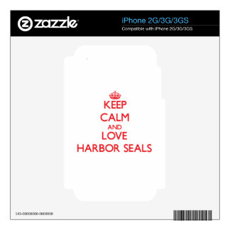 Keep calm and love Harbor Seals iPhone 3 Skins