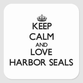 Keep calm and Love Harbor Seals Square Sticker