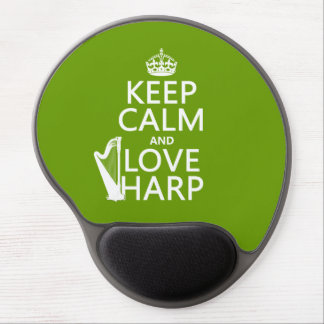 Keep Calm and Love Harp (any background color) Gel Mouse Pad