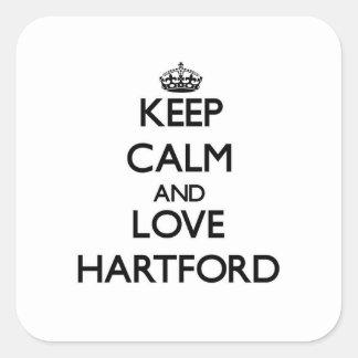 Keep Calm and love Hartford Square Sticker