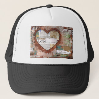 keep calm and love heart trucker hat