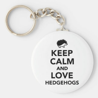 Keep calm and love hedgehogs keychain