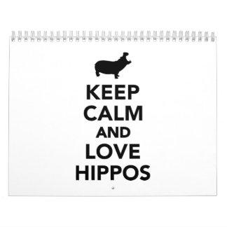 Keep calm and love hippos calendar