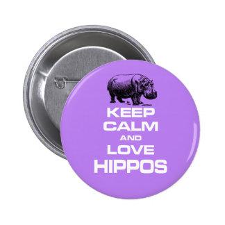 Keep Calm and Love Hippos Hippotamus Fun Design 2 Inch Round Button
