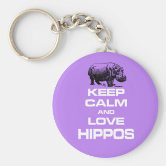 Keep Calm and Love Hippos Hippotamus Fun Design Basic Round Button Keychain