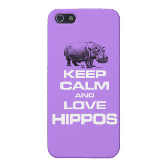 Keep Calm and Love Hippos Hippotamus Fun Design iPhone SE/5/5s Cover