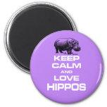 Keep Calm and Love Hippos Hippotamus Fun Design 2 Inch Round Magnet
