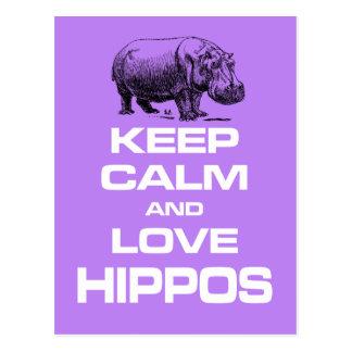Keep Calm and Love Hippos Hippotamus Fun Design Postcard