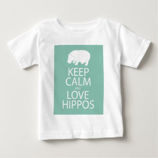 Keep Calm and Love Hippos Print Hippopotamus Baby T-Shirt