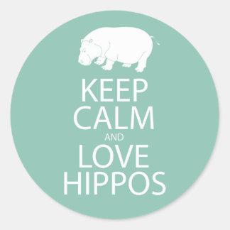 Keep Calm and Love Hippos Print Hippopotamus Classic Round Sticker