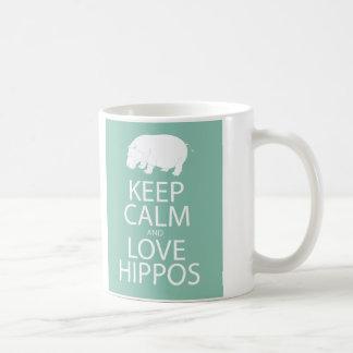 Keep Calm and Love Hippos Print Hippopotamus Classic White Coffee Mug