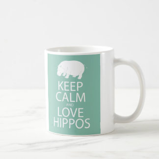 Keep Calm and Love Hippos Print Hippopotamus Coffee Mug