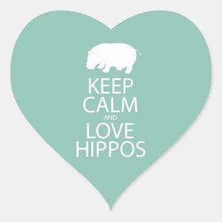 Keep Calm and Love Hippos Print Hippopotamus Heart Sticker