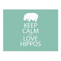 Keep Calm and Love Hippos Print Hippopotamus Postcard