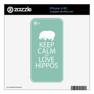 Keep Calm and Love Hippos Print Hippopotamus Decal For The iPhone 4S