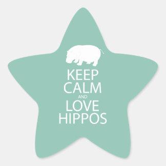 Keep Calm and Love Hippos Print Hippopotamus Star Sticker