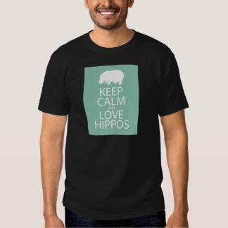 Keep Calm and Love Hippos Print Hippopotamus T-Shirt